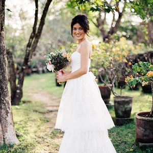 Tiered Carolina Herrera gown