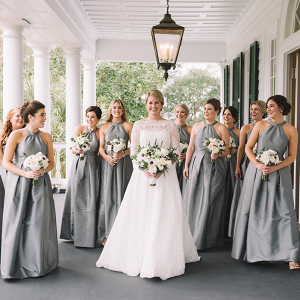 Gray Silk Bridesmaids Dresses