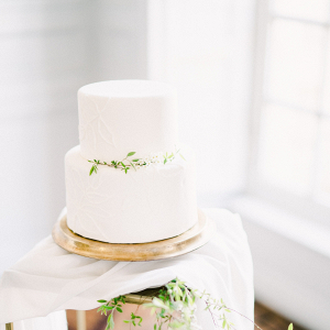 Small wedding cake with greenery
