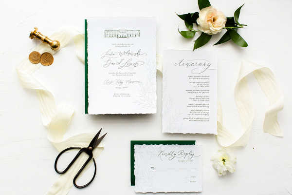 White wedding invitaions with ribbons