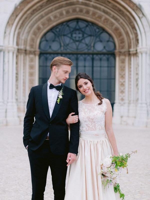 Old world romantic wedding portrait