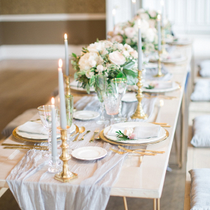 Gray and gold wedding table