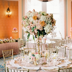 Elegant Coral and Gold Wedding Reception