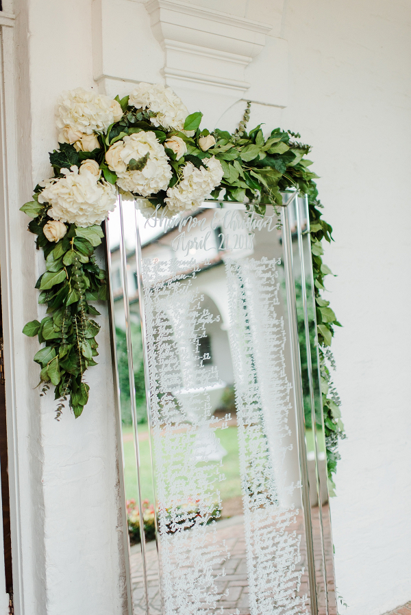 Mirror seating chart with draped florals