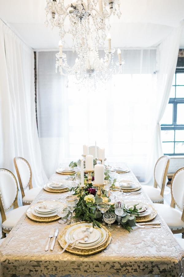 Loft Wedding Under Chandelier