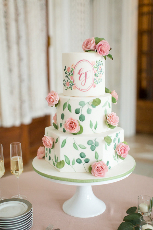 Painted Watercolor Monogram Wedding Cake
