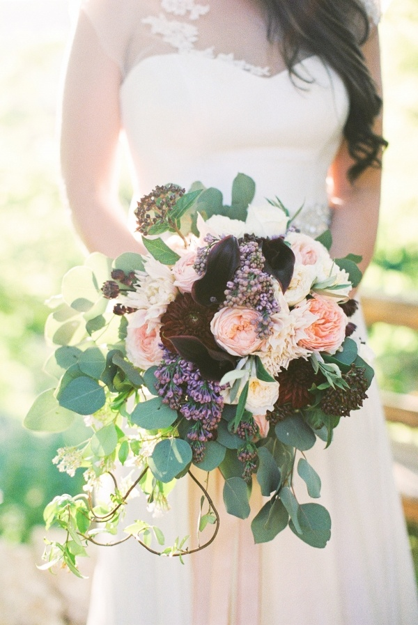Burgundy and coral bouquet