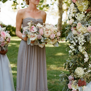 Gray Chiffon Strapless Bridesmaids Dress