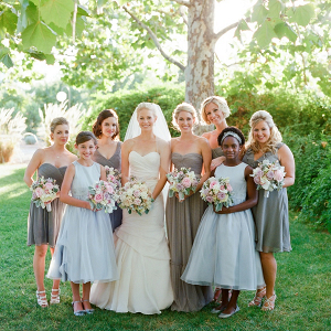 Gray and blue bridal party
