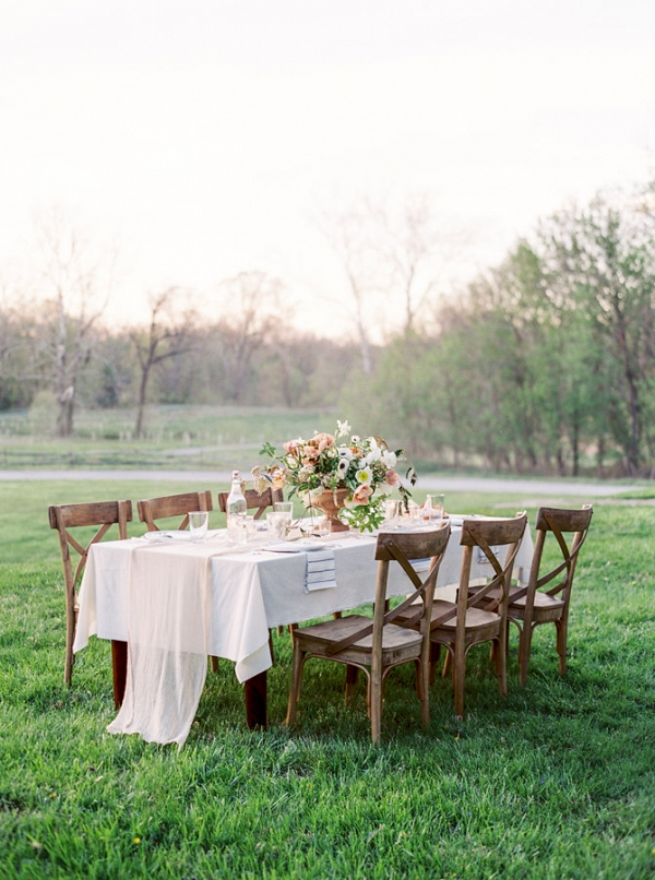 Rustic Elegant Pale Coral Wedding Table