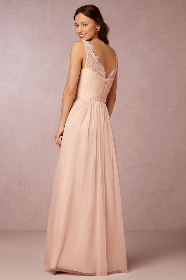 BHLDN A-Line Formal Fleur Bridesmaid Dress With Lace Straps