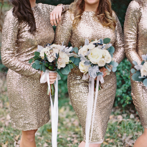 Bridesmaids in sequin dresses
