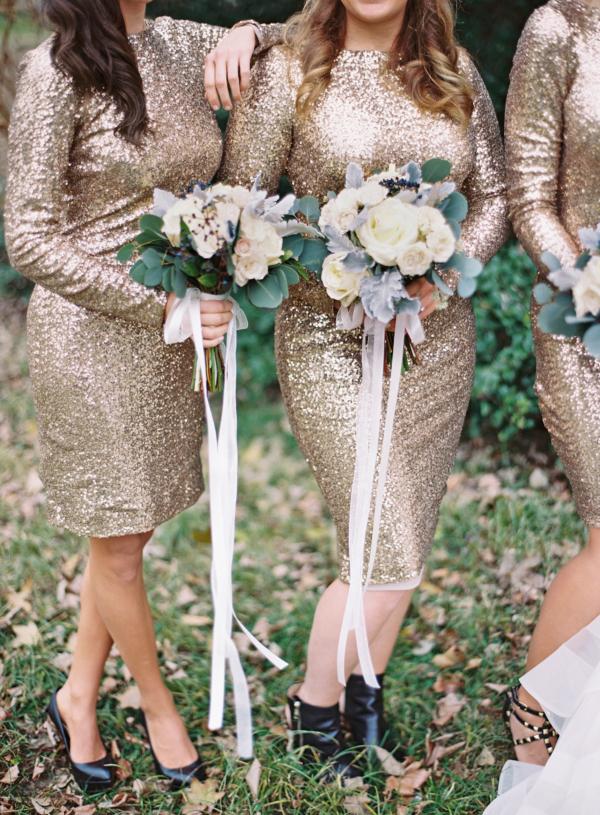 Bridesmaids in sequin dresses