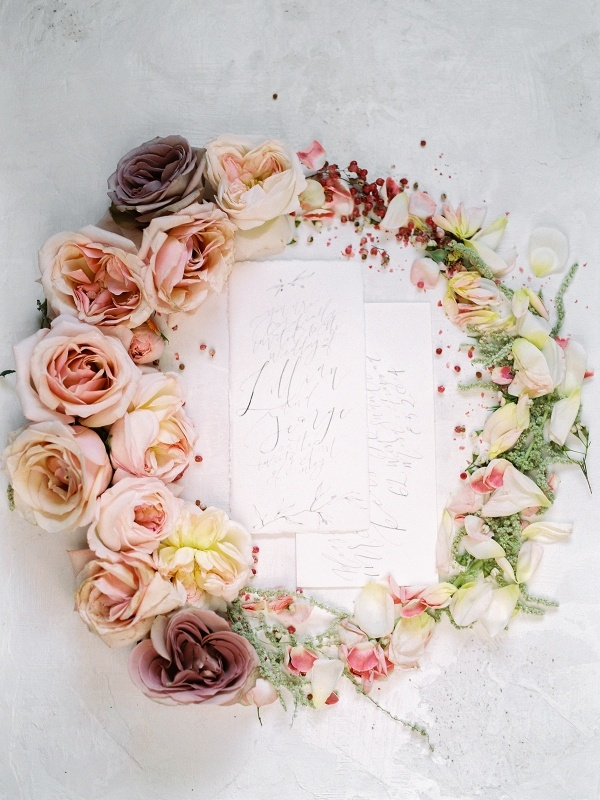 Calligraphy paper goods with floral wreath