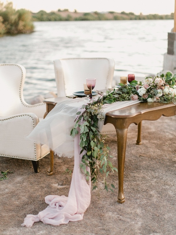 Lakeside wedding sweetheart table