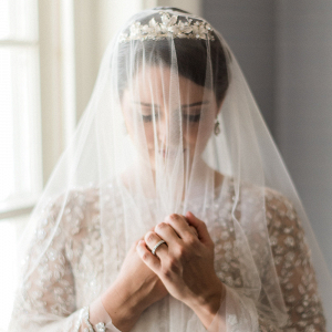 Bride in Crystal Embellished Gown from BHLDN