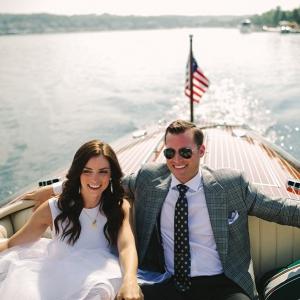 Couple on boat on Elizabeth Anne Designs