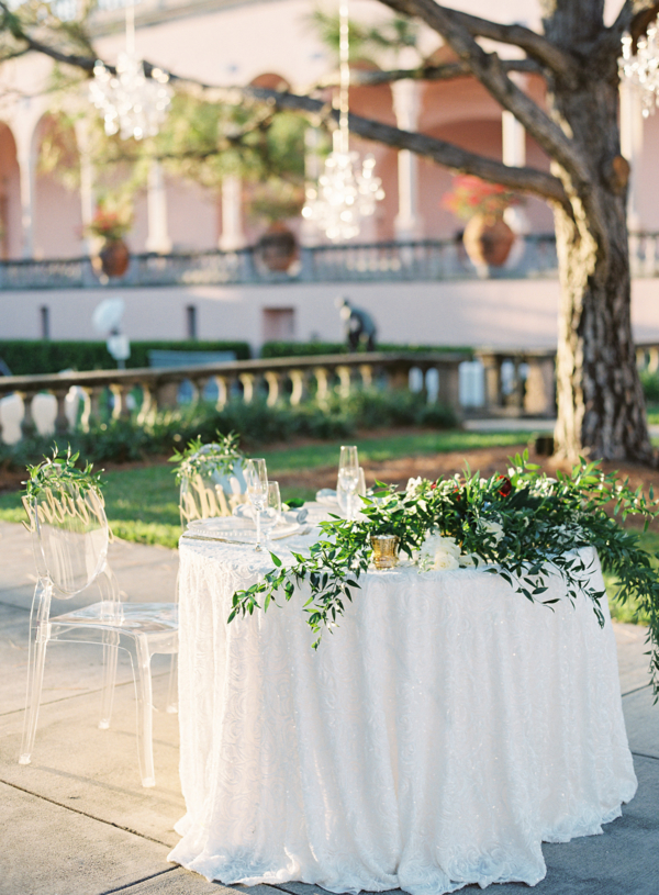 Sweetheart table with greenery