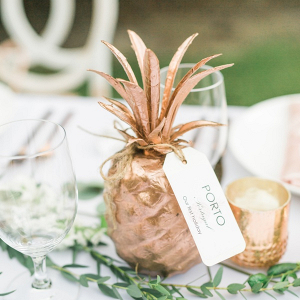 Gold pineapple centerpieces
