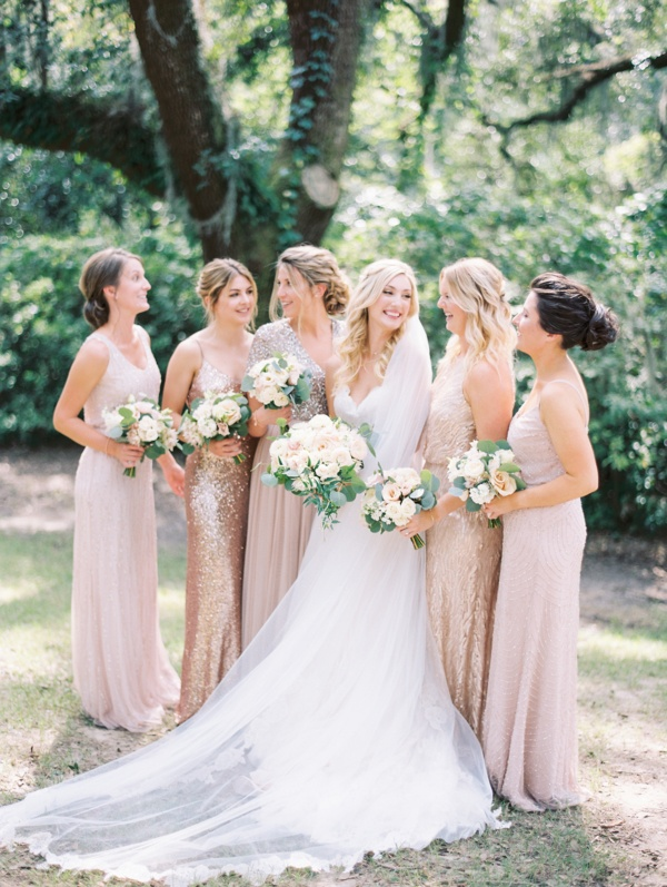 Bridesmaids in mismatched sequin dresses