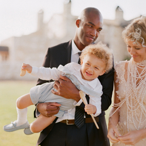 Bride and Groom with Son Ring Bearer