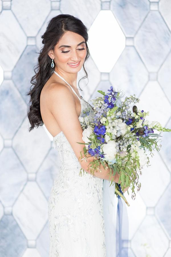 Bride in Beaded David's Bridal Gown