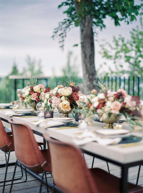 Rust and mauve wedding table
