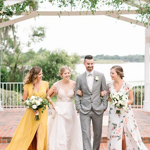 Summer yellow and gray bridal party