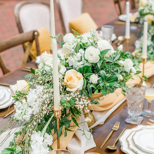 Yellow and white wedding tablescape