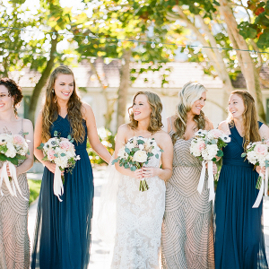 Bridesmaids in Navy and Champagne