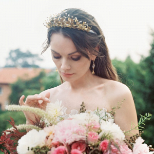 Old world guilded bridal crown