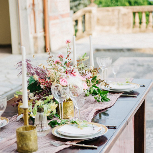 Romantic Italian villa wedding tablescape
