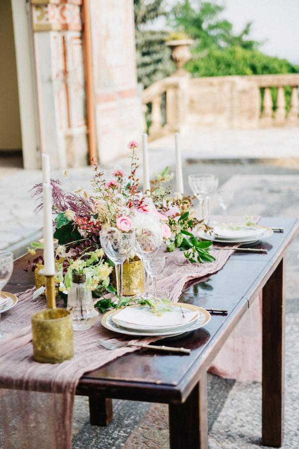 Romantic Italian villa wedding tablescape