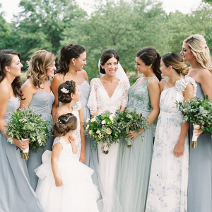 Mismatched light blue bridesmaid dresses