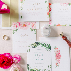 Fuchsia and bright pink wedding invitations