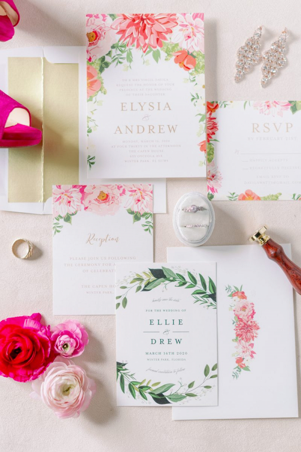 Fuchsia and bright pink wedding invitations