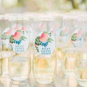 Personalized wedding drink decals