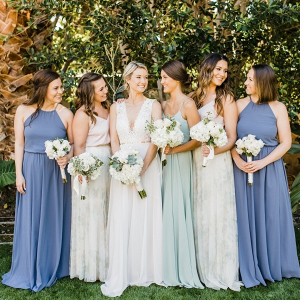 Mismatched blue and mint bridesmaid dresses