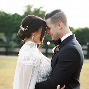 Elegant wedding dress with cape