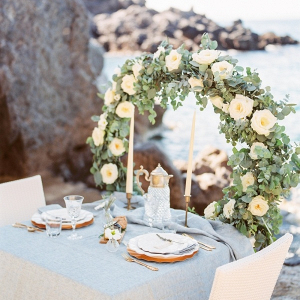 Romantic wedding table on the beach