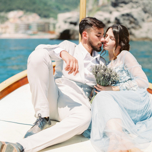 Amalfi Coast wedding portrait on boat