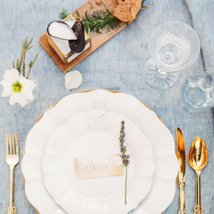 Organic seaside wedding place setting