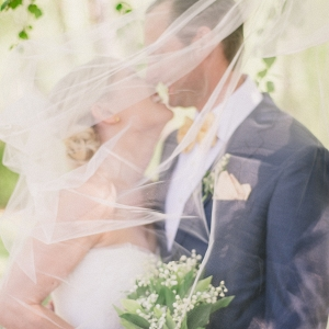Bride and groom behind veil on Elizabeth Anne Designs