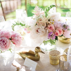 Pink and gold centerpieces on Elizabeth Anne Designs