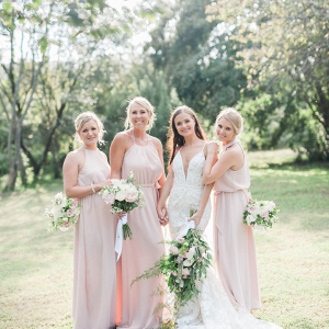 Pink Flowy Bridesmaids Dresses