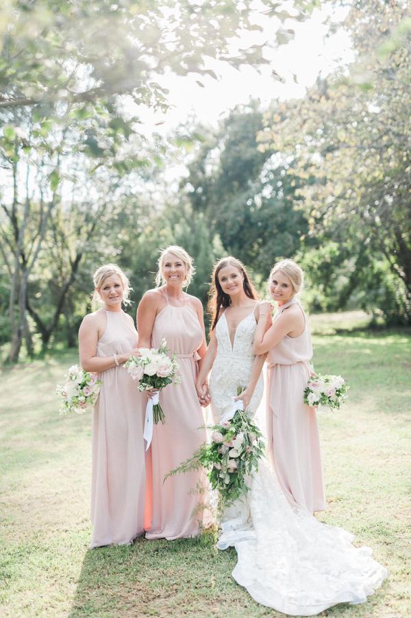 Pink Flowy Bridesmaids Dresses