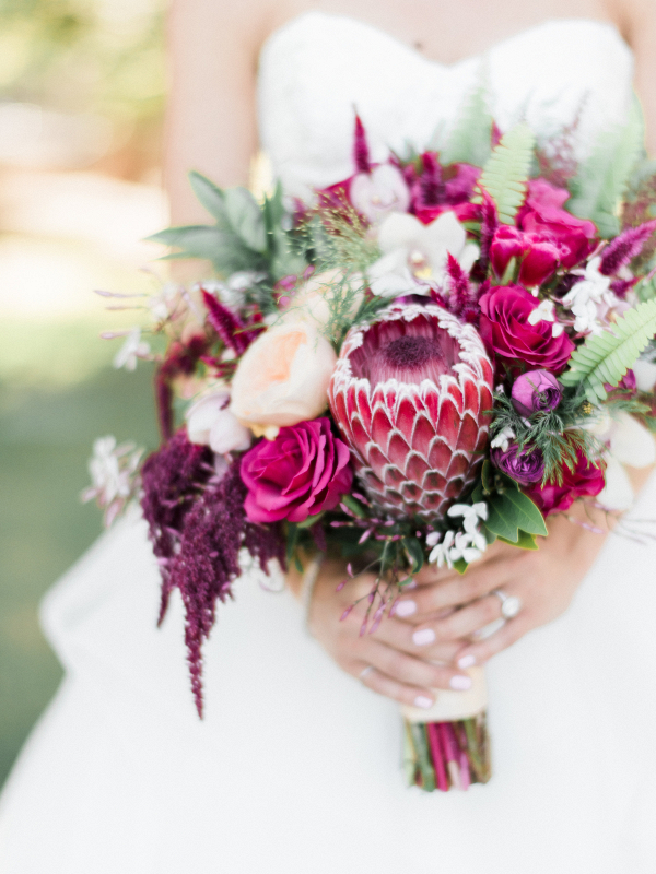 Burgundy and Garnet Bouquet with Protea