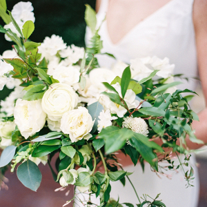 Classic white bridal bouquet with greenery