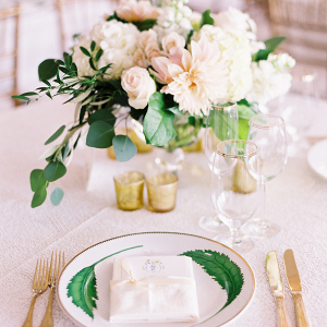 Green Gold and White Wedding Place Setting