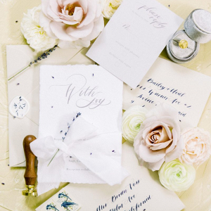 Romantic calligraphy inspired wedding invitations